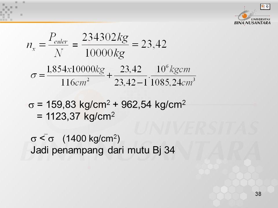 38 =  = 159,83 kg/cm 2 + 962,54 kg/cm 2 = 1123,37 kg/cm 2  <  (1400 kg/cm 2 ) Jadi penampang dari mutu Bj 34