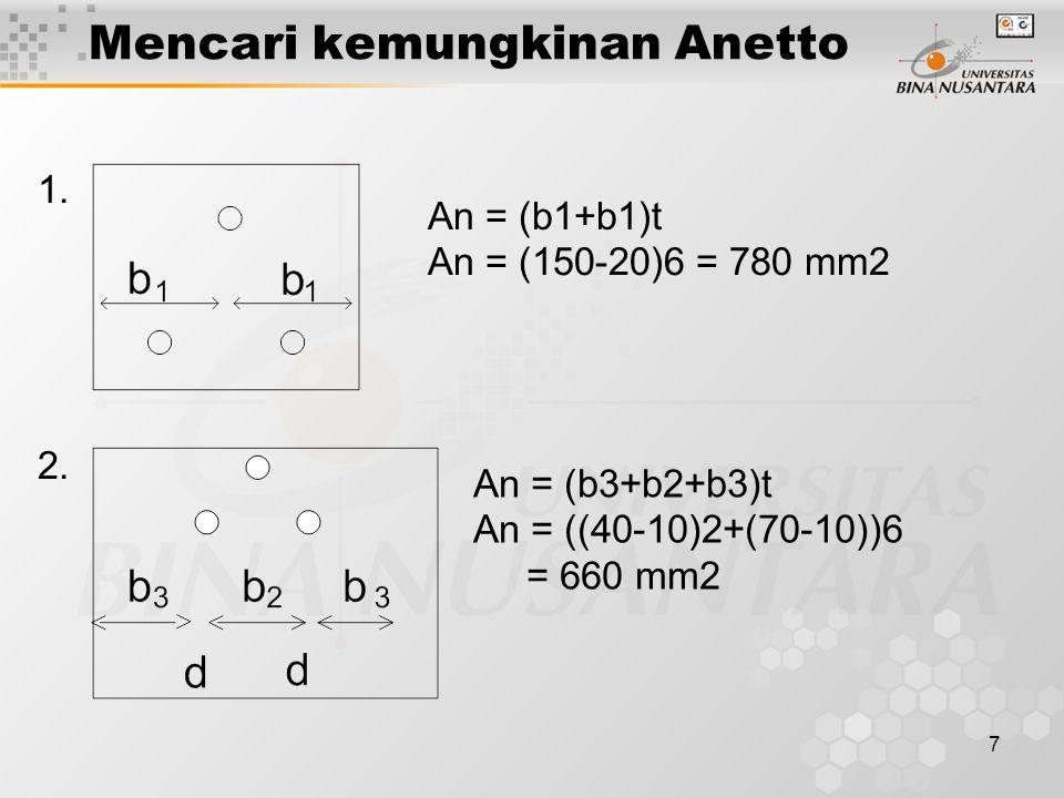 7 Mencari kemungkinan Anetto An = (b1+b1)t An = (150-20)6 = 780 mm2 An = (b3+b2+b3)t An = ((40-10)2+(70-10))6 = 660 mm2 1. 2.