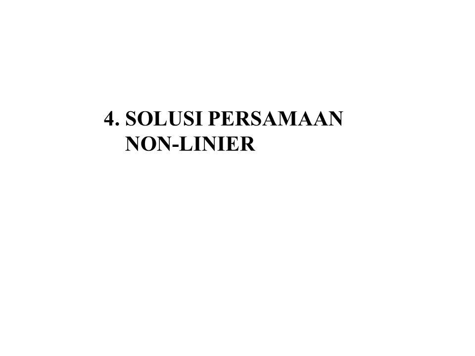 4.1 Akar-akar Persamaan Non-Linier Dalam bidang Sains dan Rekayasa kita sering memerlukan untuk mencari akar-akar (solusi) dari suatu persamaan.