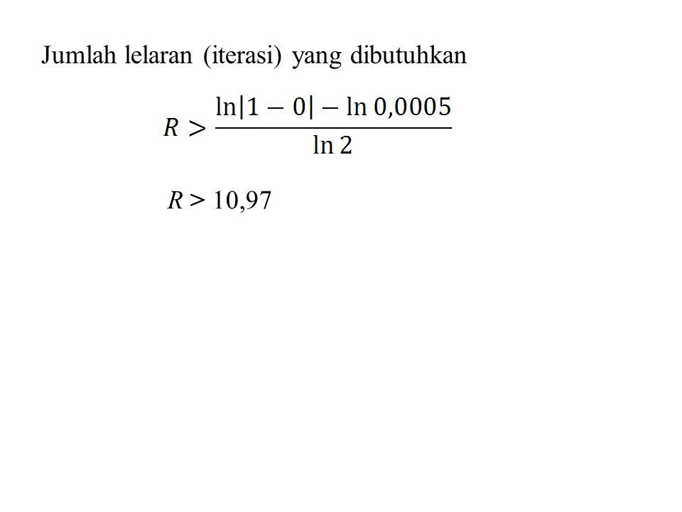 R > 10,97 Jumlah lelaran (iterasi) yang dibutuhkan