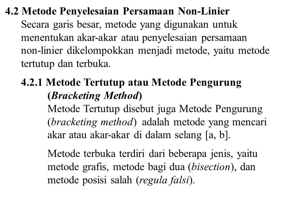 4.2 Metode Penyelesaian Persamaan Non-Linier Secara garis besar, metode yang digunakan untuk menentukan akar-akar atau penyelesaian persamaan non-lini
