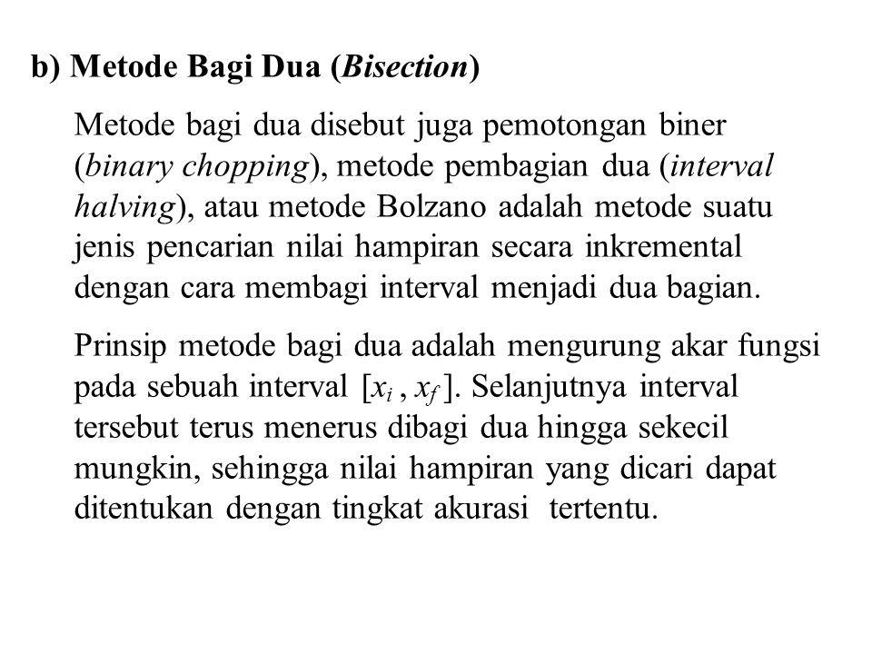 b) Metode Bagi Dua (Bisection) Metode bagi dua disebut juga pemotongan biner (binary chopping), metode pembagian dua (interval halving), atau metode B
