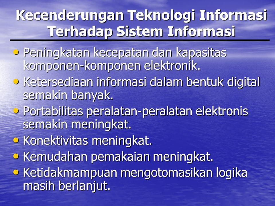 Kecenderungan Teknologi Informasi Terhadap Sistem Informasi Peningkatan kecepatan dan kapasitas komponen-komponen elektronik. Peningkatan kecepatan da