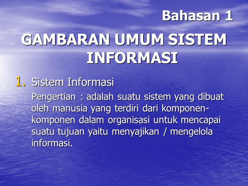 Bahasan 1 Definisi sistem informasi menurut para pakar :  Bodnar dan Hopwood 1993 : Sistem informasi adalah kumpulan perangkat keras dan perangkat lunak yang dirancang untuk mentransformasikan data ke dalam bentuk informasi yang berguna.