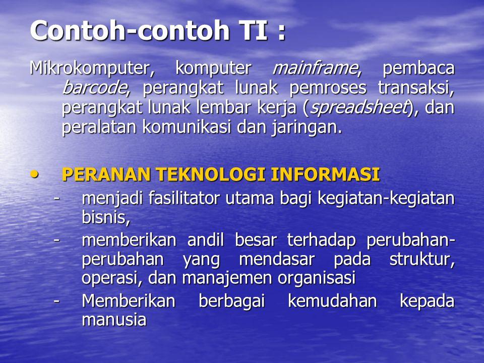 Contoh-contoh TI : Mikrokomputer, komputer mainframe, pembaca barcode, perangkat lunak pemroses transaksi, perangkat lunak lembar kerja (spreadsheet),