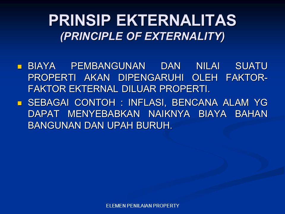 ELEMEN PENILAIAN PROPERTY PRINSIP EKTERNALITAS (PRINCIPLE OF EXTERNALITY) BIAYA PEMBANGUNAN DAN NILAI SUATU PROPERTI AKAN DIPENGARUHI OLEH FAKTOR- FAK