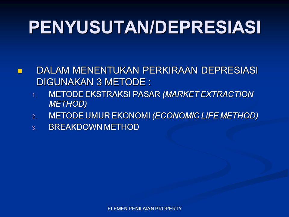 ELEMEN PENILAIAN PROPERTY PENYUSUTAN/DEPRESIASI DALAM MENENTUKAN PERKIRAAN DEPRESIASI DIGUNAKAN 3 METODE : DALAM MENENTUKAN PERKIRAAN DEPRESIASI DIGUN