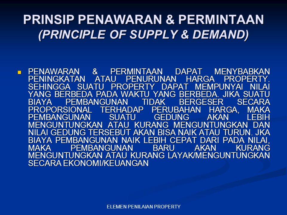 ELEMEN PENILAIAN PROPERTY PRINSIP PENAWARAN & PERMINTAAN (PRINCIPLE OF SUPPLY & DEMAND) PENAWARAN & PERMINTAAN DAPAT MENYBABKAN PENINGKATAN ATAU PENUR