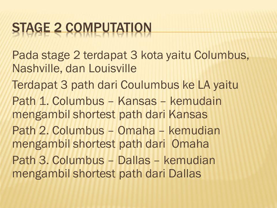Pada stage 2 terdapat 3 kota yaitu Columbus, Nashville, dan Louisville Terdapat 3 path dari Coulumbus ke LA yaitu Path 1. Columbus – Kansas – kemudain