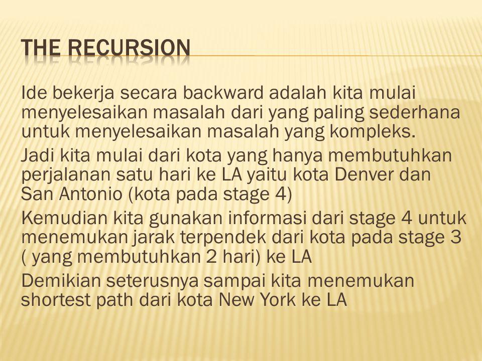  Karakteristik 1  Problem dapat dibagi menjadi beberapa stage dan dibutuhkan sebuah keputusan pada setiap stage.