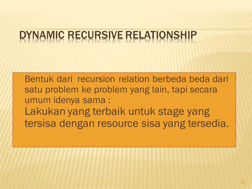 50 Bentuk dari recursion relation berbeda beda dari satu problem ke problem yang lain, tapi secara umum idenya sama : Lakukan yang terbaik untuk stage yang tersisa dengan resource sisa yang tersedia.