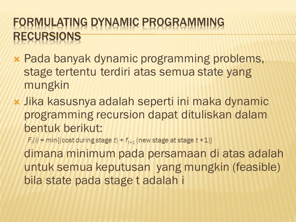  Pada banyak dynamic programming problems, stage tertentu terdiri atas semua state yang mungkin  Jika kasusnya adalah seperti ini maka dynamic progr