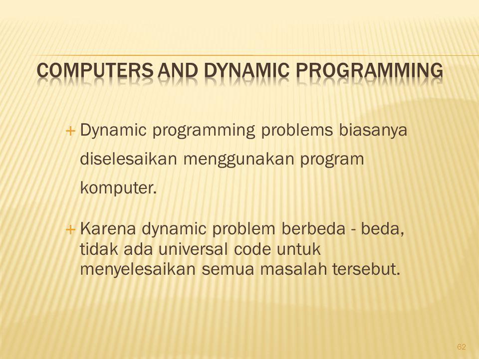 62  Dynamic programming problems biasanya diselesaikan menggunakan program komputer.  Karena dynamic problem berbeda - beda, tidak ada universal cod