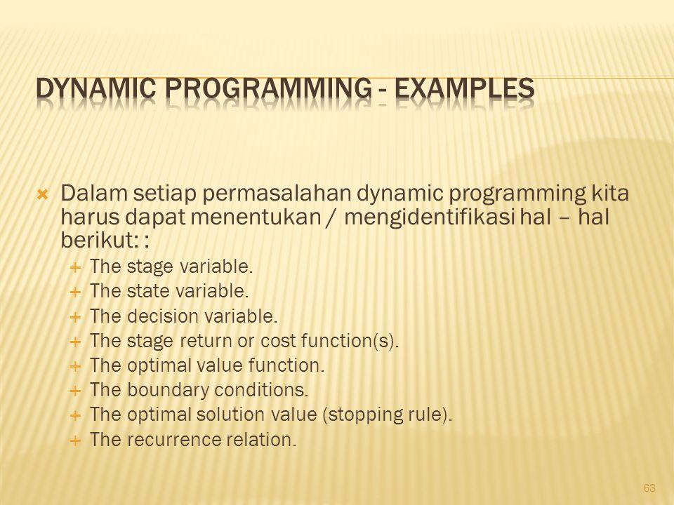 63  Dalam setiap permasalahan dynamic programming kita harus dapat menentukan / mengidentifikasi hal – hal berikut: :  The stage variable.  The sta