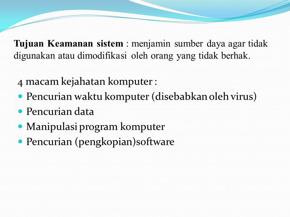 Tujuan Keamanan sistem : menjamin sumber daya agar tidak digunakan atau dimodifikasi oleh orang yang tidak berhak. 4 macam kejahatan komputer : Pencur
