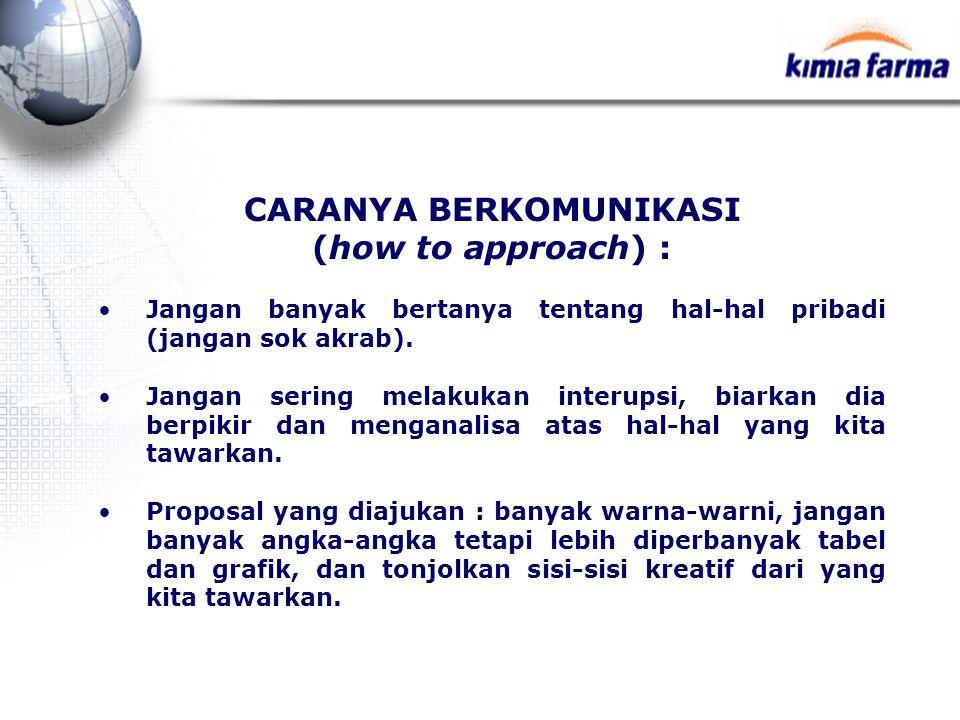 CARANYA BERKOMUNIKASI (how to approach) : Jangan banyak bertanya tentang hal-hal pribadi (jangan sok akrab). Jangan sering melakukan interupsi, biarka