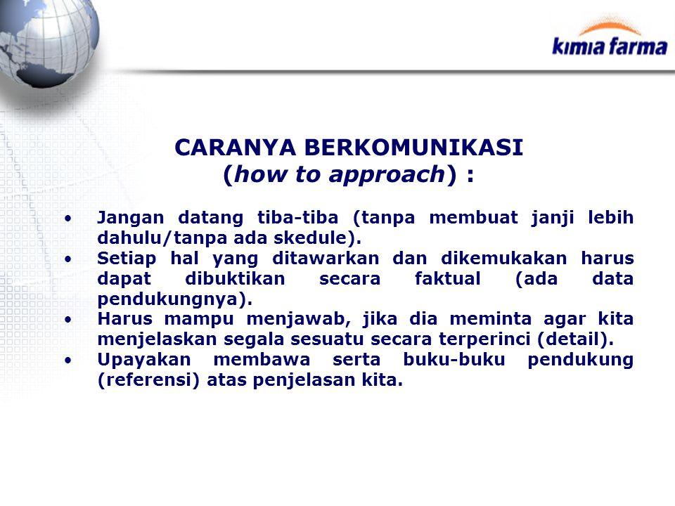 CARANYA BERKOMUNIKASI (how to approach) : Jangan datang tiba-tiba (tanpa membuat janji lebih dahulu/tanpa ada skedule). Setiap hal yang ditawarkan dan