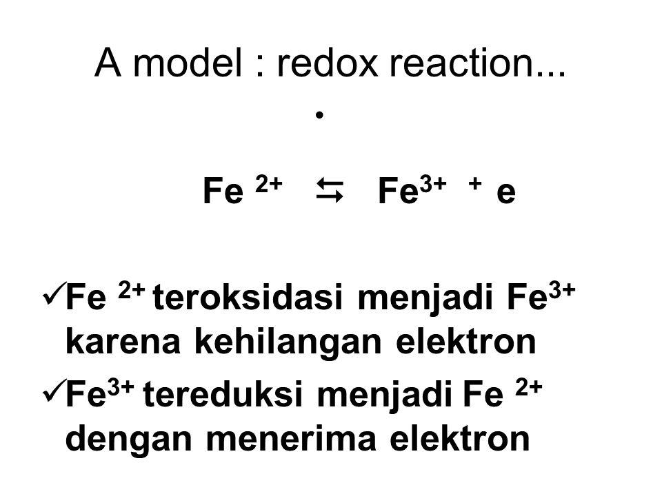 A model : redox reaction... Fe 2+  Fe 3+ + e Fe 2+ teroksidasi menjadi Fe 3+ karena kehilangan elektron Fe 3+ tereduksi menjadi Fe 2+ dengan menerima