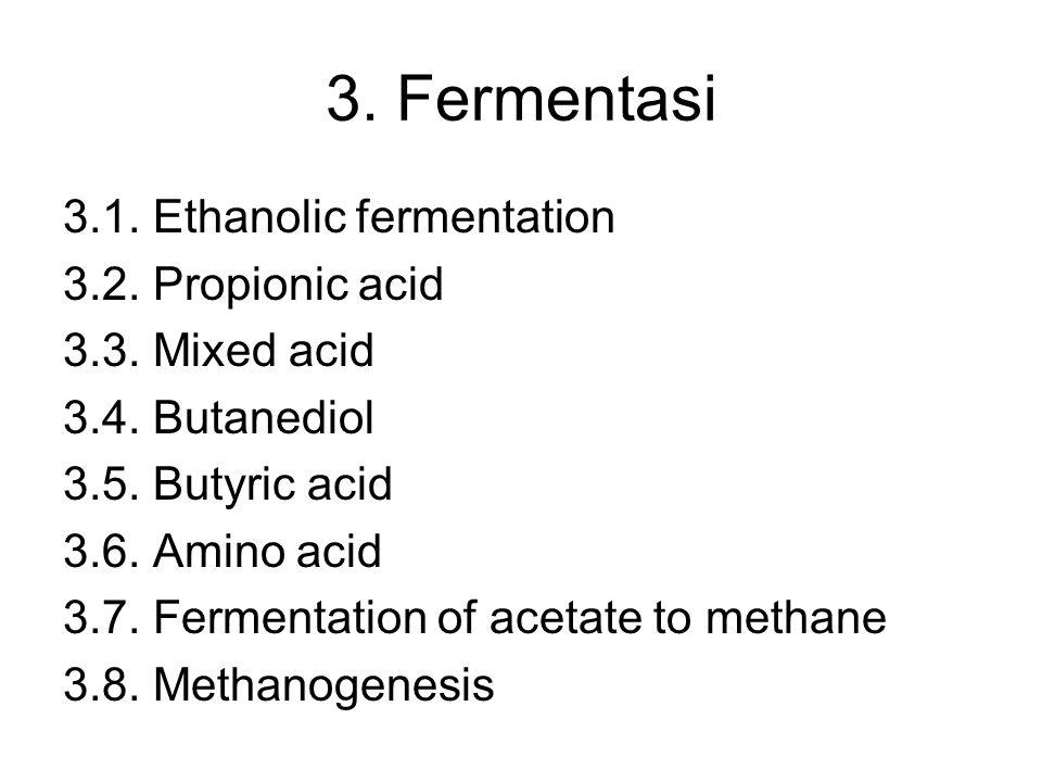 3. Fermentasi 3.1. Ethanolic fermentation 3.2. Propionic acid 3.3. Mixed acid 3.4. Butanediol 3.5. Butyric acid 3.6. Amino acid 3.7. Fermentation of a