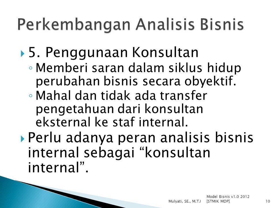  5. Penggunaan Konsultan ◦ Memberi saran dalam siklus hidup perubahan bisnis secara obyektif. ◦ Mahal dan tidak ada transfer pengetahuan dari konsult