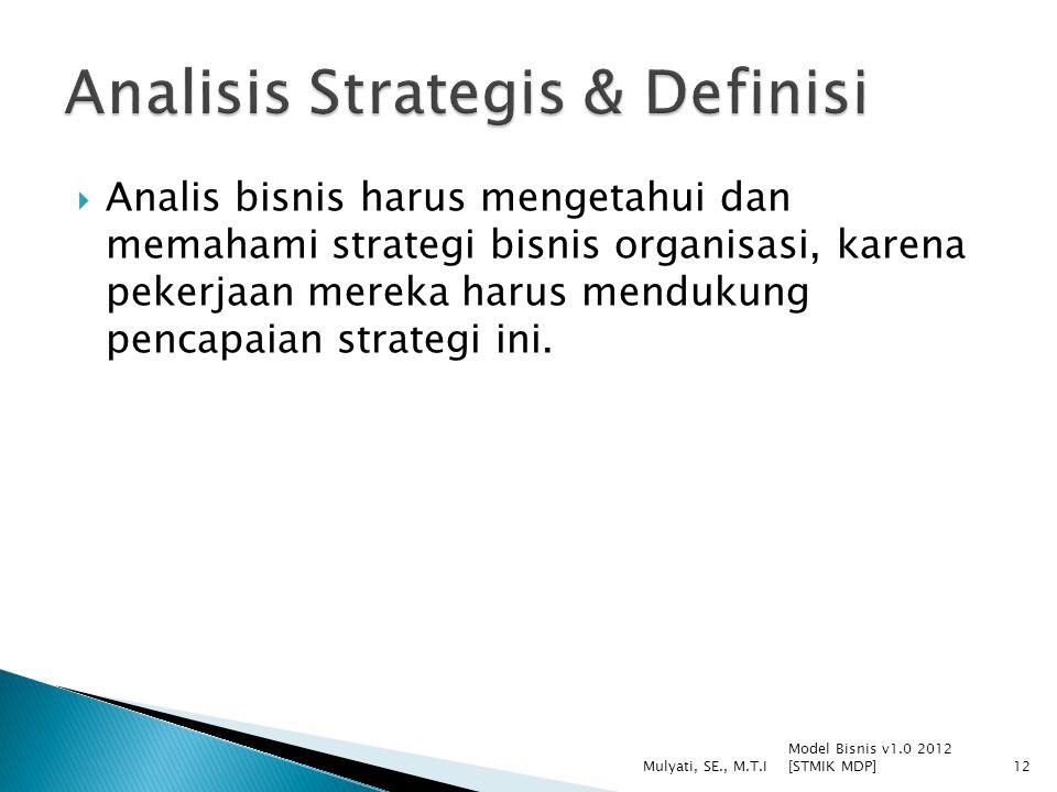  Analis bisnis harus mengetahui dan memahami strategi bisnis organisasi, karena pekerjaan mereka harus mendukung pencapaian strategi ini. Model Bisni