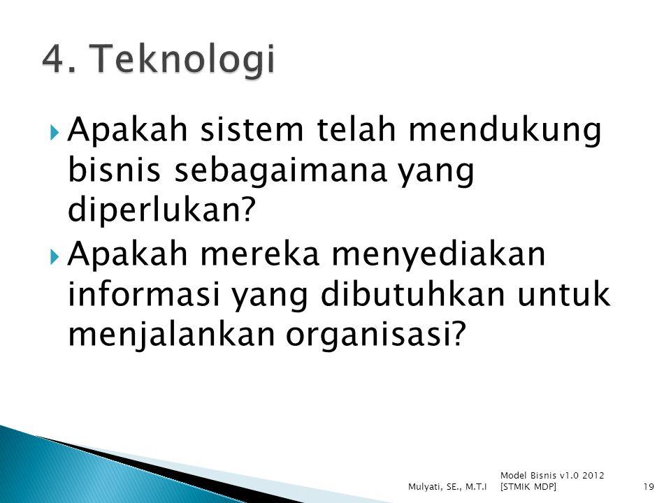  Apakah sistem telah mendukung bisnis sebagaimana yang diperlukan?  Apakah mereka menyediakan informasi yang dibutuhkan untuk menjalankan organisasi