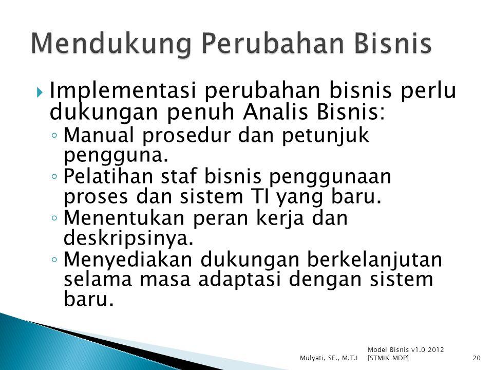  Implementasi perubahan bisnis perlu dukungan penuh Analis Bisnis: ◦ Manual prosedur dan petunjuk pengguna. ◦ Pelatihan staf bisnis penggunaan proses