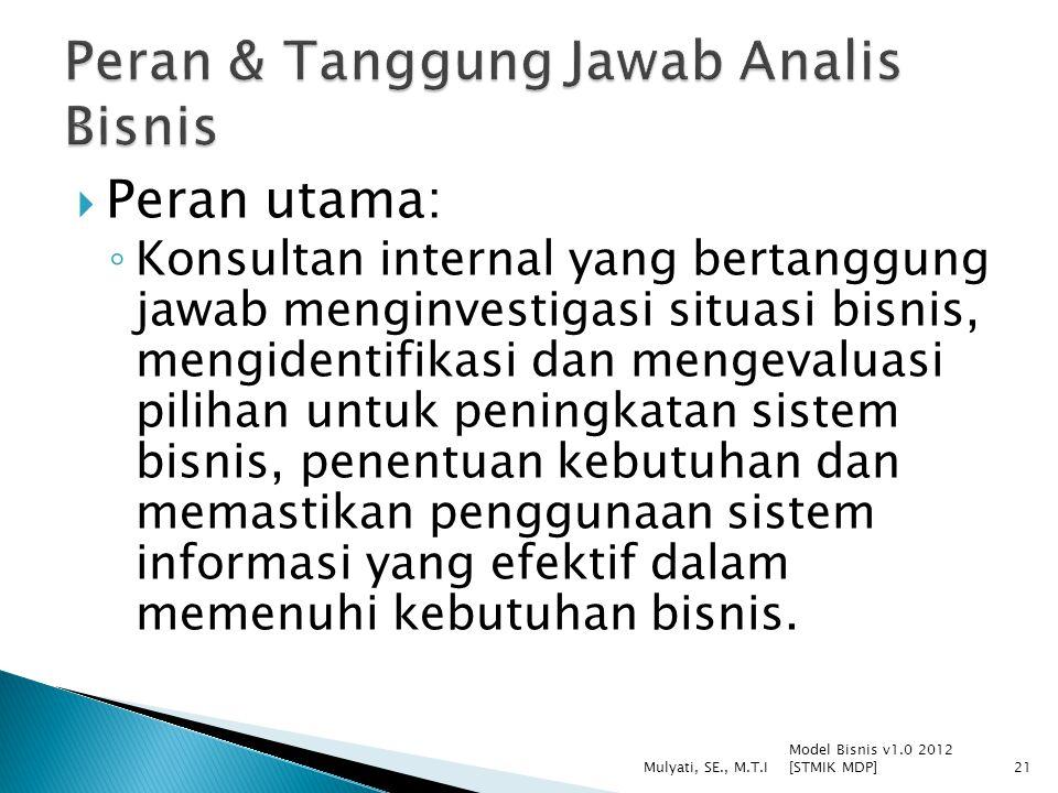  Peran utama: ◦ Konsultan internal yang bertanggung jawab menginvestigasi situasi bisnis, mengidentifikasi dan mengevaluasi pilihan untuk peningkatan