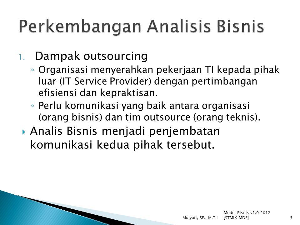 1. Dampak outsourcing ◦ Organisasi menyerahkan pekerjaan TI kepada pihak luar (IT Service Provider) dengan pertimbangan efisiensi dan kepraktisan. ◦ P