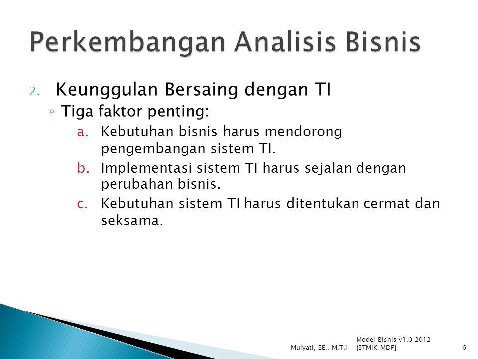2. Keunggulan Bersaing dengan TI ◦ Tiga faktor penting: a.Kebutuhan bisnis harus mendorong pengembangan sistem TI. b.Implementasi sistem TI harus seja