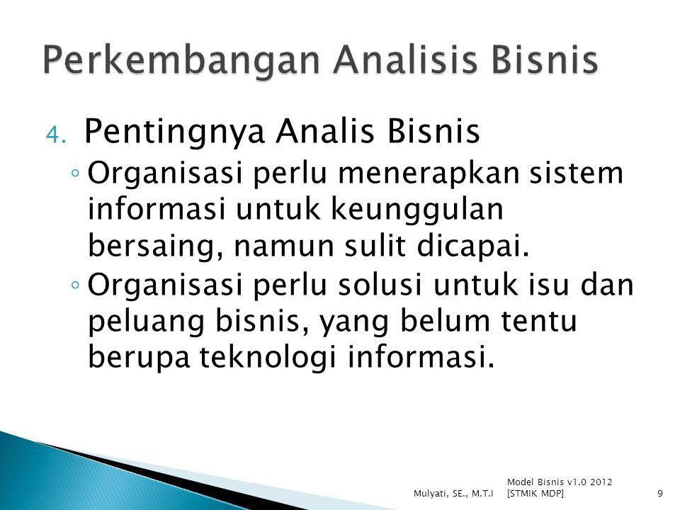 4. Pentingnya Analis Bisnis ◦ Organisasi perlu menerapkan sistem informasi untuk keunggulan bersaing, namun sulit dicapai. ◦ Organisasi perlu solusi u