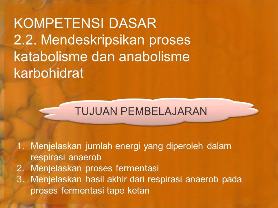 KOMPETENSI DASAR 2.2. Mendeskripsikan proses katabolisme dan anabolisme karbohidrat 1.Menjelaskan jumlah energi yang diperoleh dalam respirasi anaerob