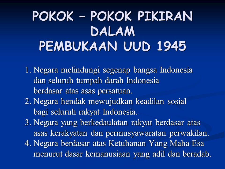 POKOK – POKOK PIKIRAN DALAM PEMBUKAAN UUD 1945 1. Negara melindungi segenap bangsa Indonesia dan seluruh tumpah darah Indonesia dan seluruh tumpah dar