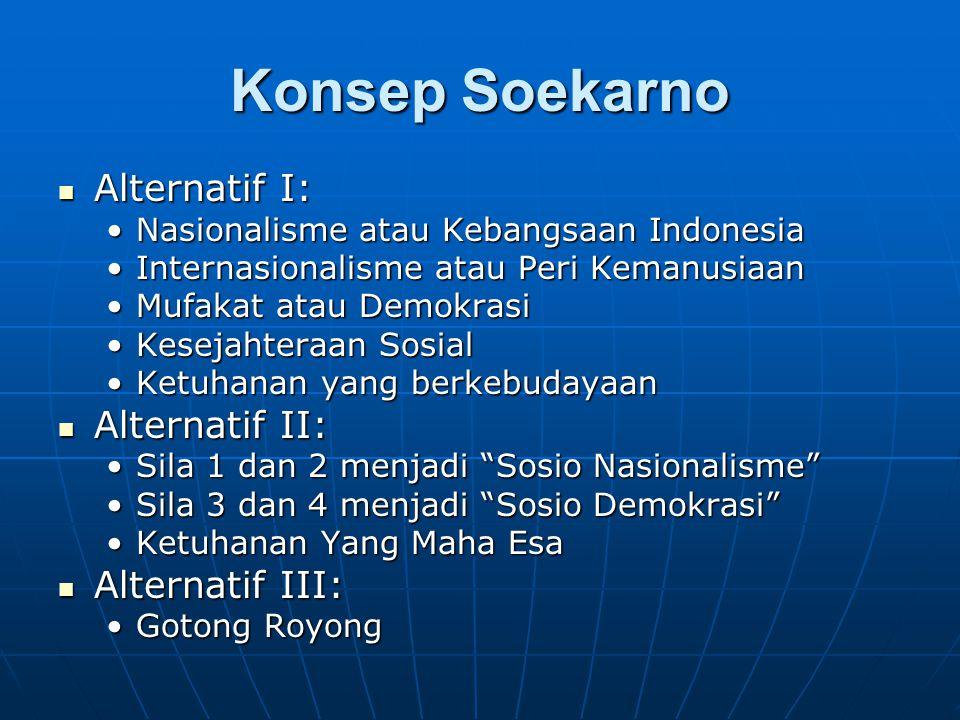 Konsep Soekarno Alternatif I: Alternatif I: Nasionalisme atau Kebangsaan IndonesiaNasionalisme atau Kebangsaan Indonesia Internasionalisme atau Peri KemanusiaanInternasionalisme atau Peri Kemanusiaan Mufakat atau DemokrasiMufakat atau Demokrasi Kesejahteraan SosialKesejahteraan Sosial Ketuhanan yang berkebudayaanKetuhanan yang berkebudayaan Alternatif II: Alternatif II: Sila 1 dan 2 menjadi Sosio Nasionalisme Sila 1 dan 2 menjadi Sosio Nasionalisme Sila 3 dan 4 menjadi Sosio Demokrasi Sila 3 dan 4 menjadi Sosio Demokrasi Ketuhanan Yang Maha EsaKetuhanan Yang Maha Esa Alternatif III: Alternatif III: Gotong RoyongGotong Royong