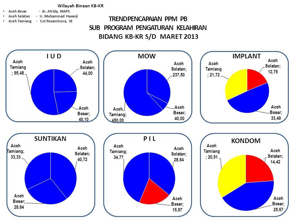 TREND PENCAPAIAN PPM PB SUB PROGRAM PENGATURAN KELAHIRAN BIDANG KB-KR S/D MARET 2013 Wilayah Binaan KB-KR Aceh Besar - dr.