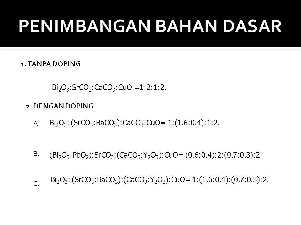 Bi 2 O 3 :SrCO 3 :CaCO 3 :CuO =1:2:1:2. Bi 2 O 3 : (SrCO 3 :BaCO 3 ):CaCO 3 :CuO= 1:(1.6:0.4):1:2. (Bi 2 O 3 :PbO 2 ):SrCO 3 :(CaCO 3 :Y 2 O 3 ):CuO=