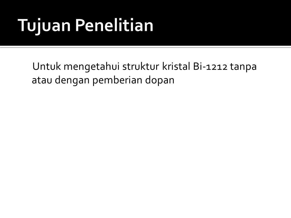 Untuk mengetahui struktur kristal Bi-1212 tanpa atau dengan pemberian dopan
