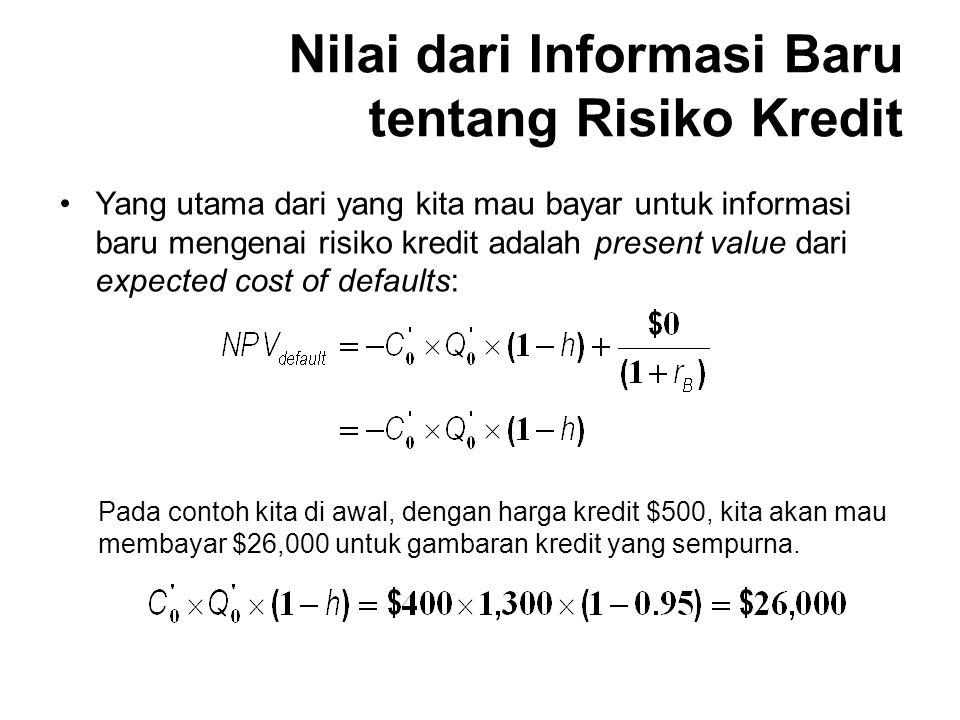 Yang utama dari yang kita mau bayar untuk informasi baru mengenai risiko kredit adalah present value dari expected cost of defaults: Pada contoh kita