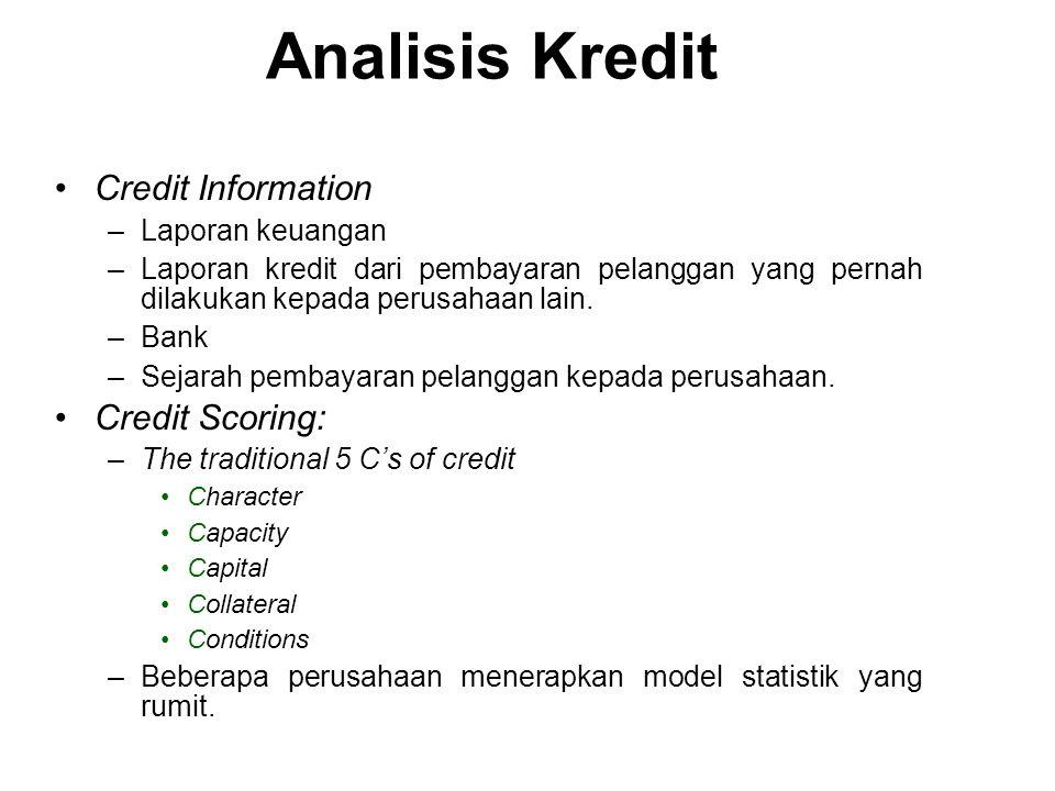 Credit Information –Laporan keuangan –Laporan kredit dari pembayaran pelanggan yang pernah dilakukan kepada perusahaan lain.