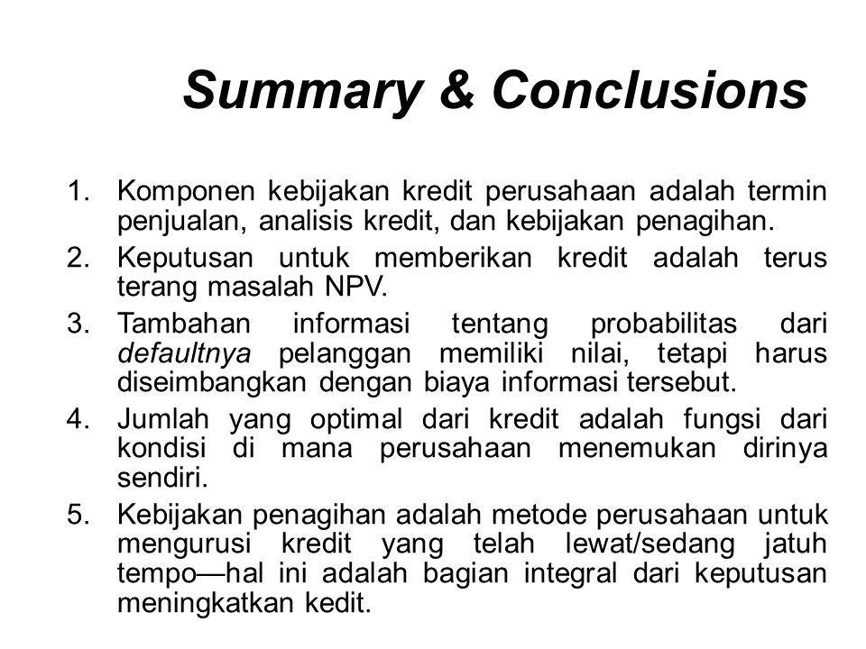 1.Komponen kebijakan kredit perusahaan adalah termin penjualan, analisis kredit, dan kebijakan penagihan. 2.Keputusan untuk memberikan kredit adalah t