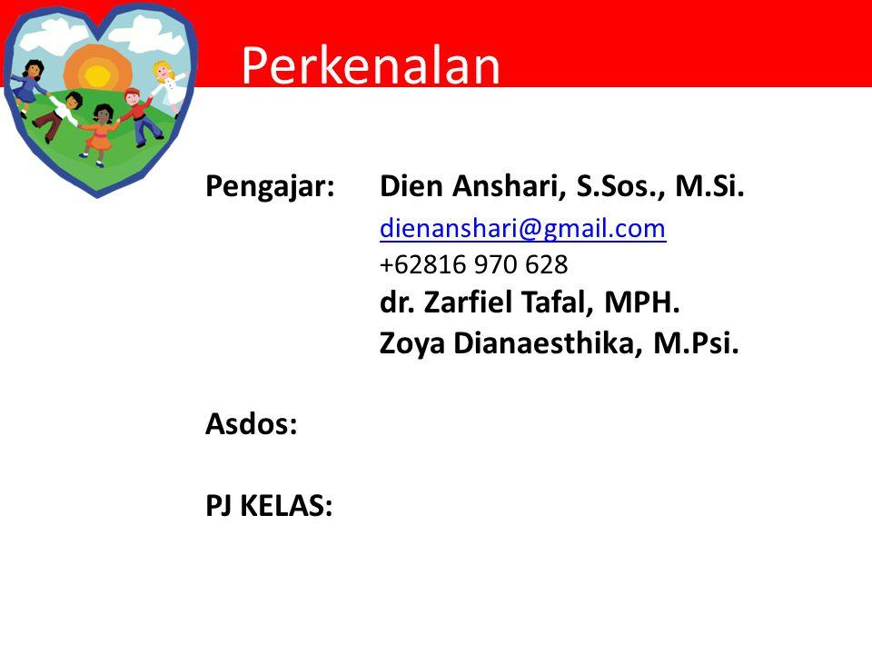 Perkenalan Pengajar:Dien Anshari, S.Sos., M.Si. dienanshari@gmail.com +62816 970 628 dr. Zarfiel Tafal, MPH. Zoya Dianaesthika, M.Psi. Asdos: PJ KELAS