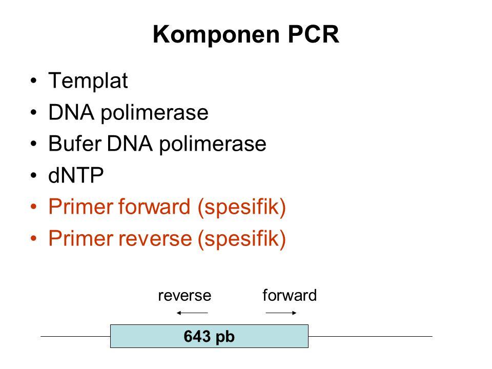 Komponen PCR Templat DNA polimerase Bufer DNA polimerase dNTP Primer forward (spesifik) Primer reverse (spesifik) 643 pb forwardreverse