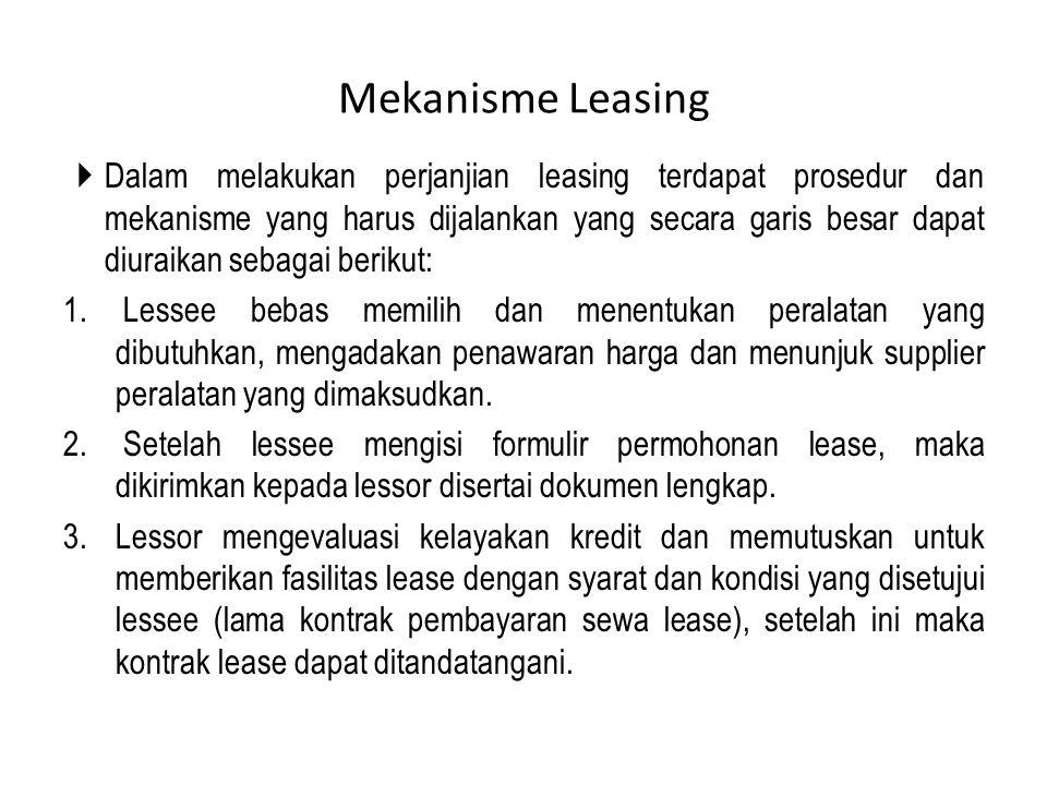 Mekanisme Leasing  Dalam melakukan perjanjian leasing terdapat prosedur dan mekanisme yang harus dijalankan yang secara garis besar dapat diuraikan s