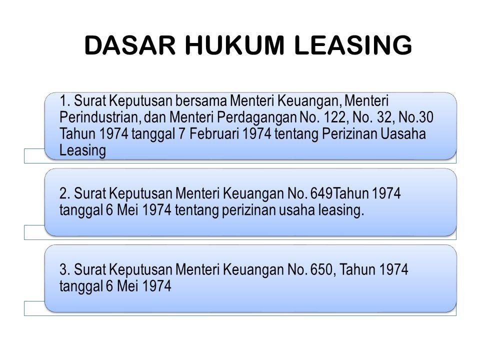 DASAR HUKUM LEASING 1. Surat Keputusan bersama Menteri Keuangan, Menteri Perindustrian, dan Menteri Perdagangan No. 122, No. 32, No.30 Tahun 1974 tang