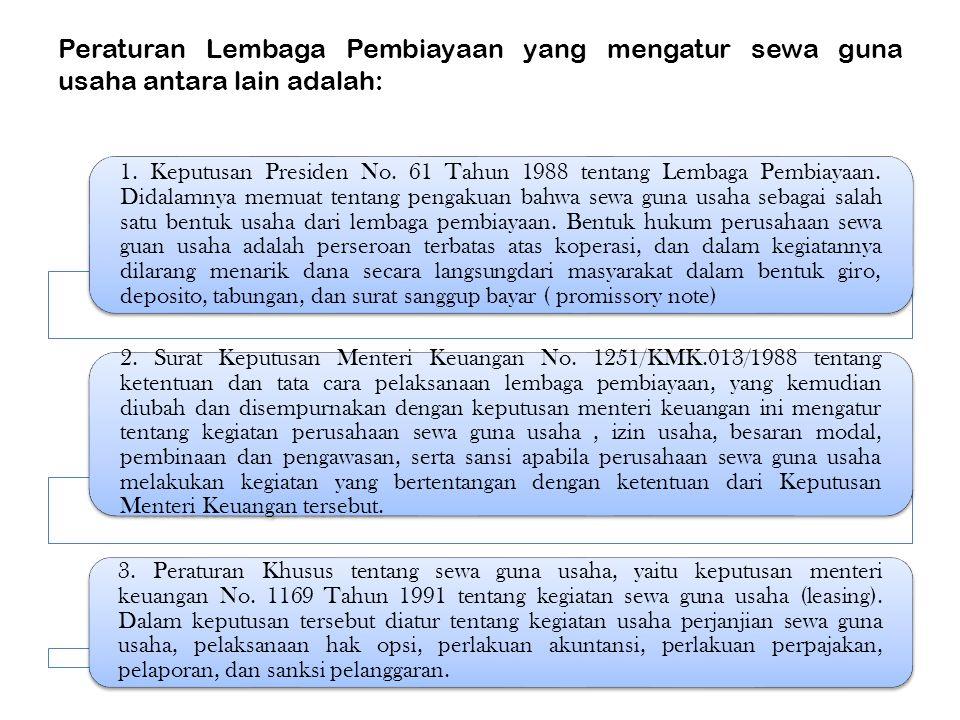 Peraturan Lembaga Pembiayaan yang mengatur sewa guna usaha antara lain adalah: 1. Keputusan Presiden No. 61 Tahun 1988 tentang Lembaga Pembiayaan. Did