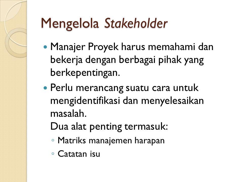 Mengelola Stakeholder Manajer Proyek harus memahami dan bekerja dengan berbagai pihak yang berkepentingan.