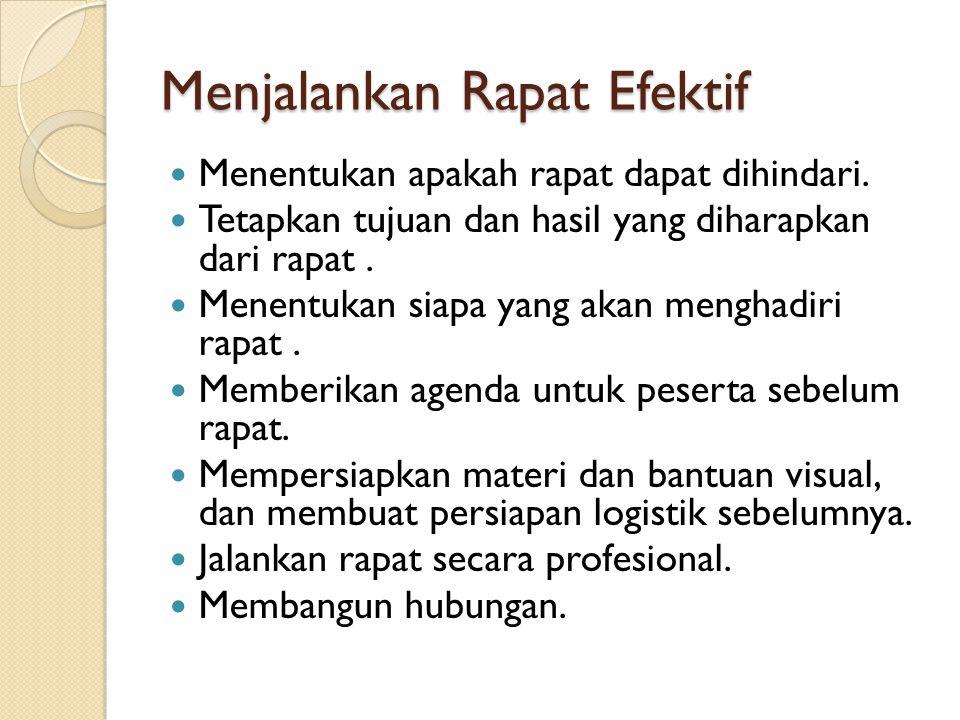 Menjalankan Rapat Efektif Menentukan apakah rapat dapat dihindari.