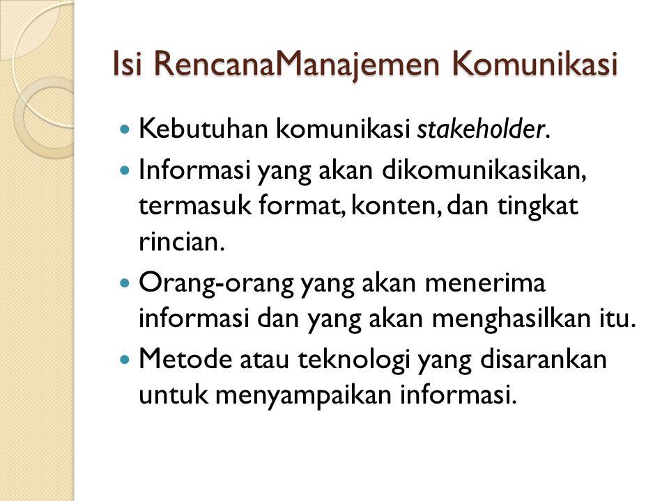 Isi RencanaManajemen Komunikasi (lanjutan) Frekuensi komunikasi.