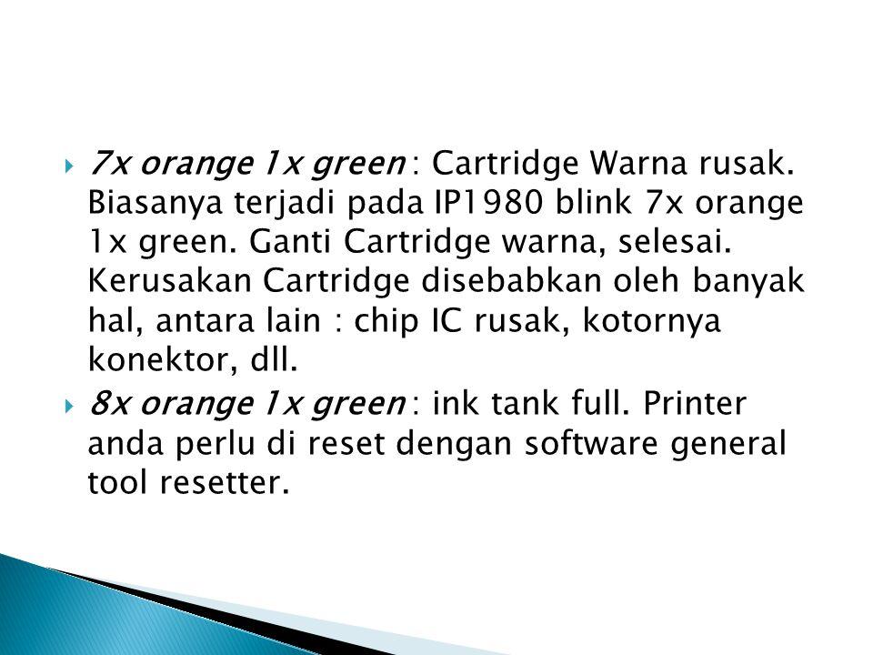  7x orange 1x green : Cartridge Warna rusak.