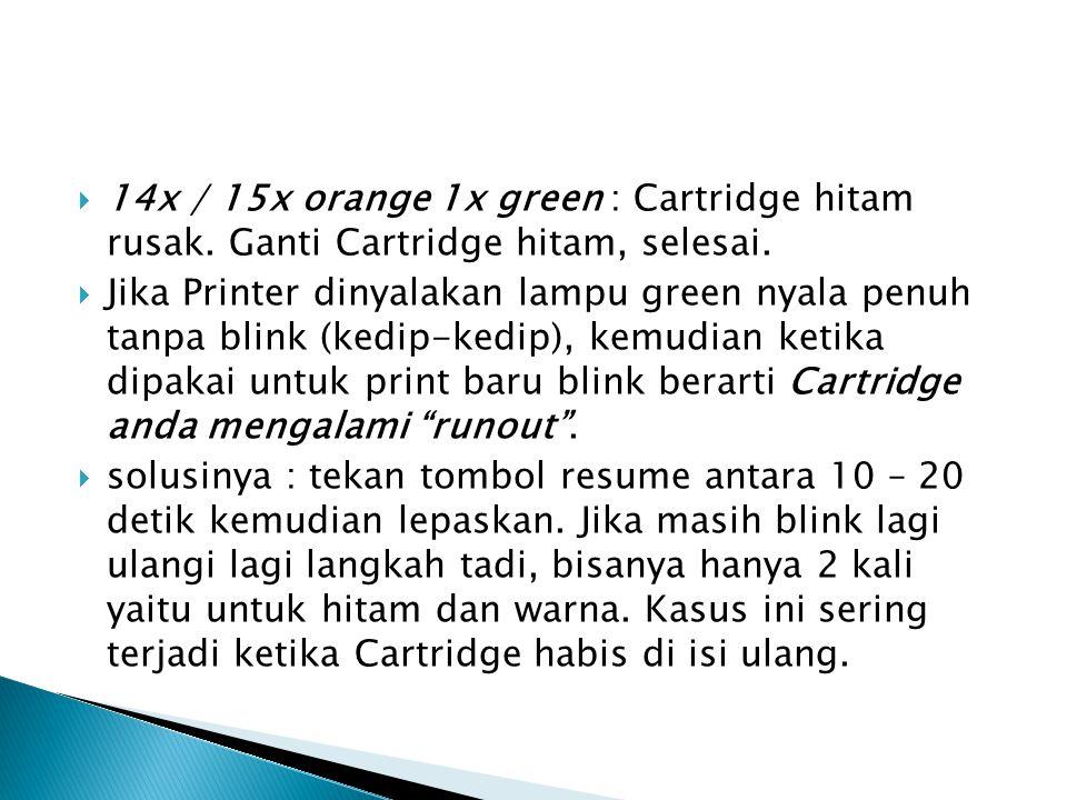  14x / 15x orange 1x green : Cartridge hitam rusak.